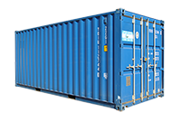 Blue shipping container for storage